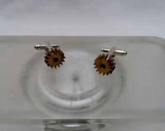 Small Brass Gear Cuff Links