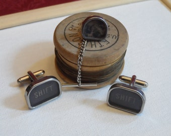 Typewriter Cuff Link and Tie Tack Set