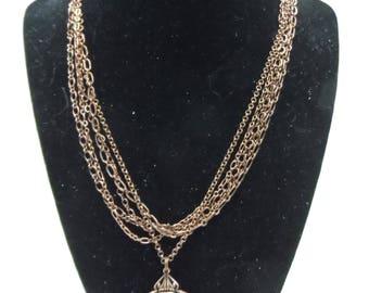 Multi-Chain Watch Movement Necklace - Antique Copper