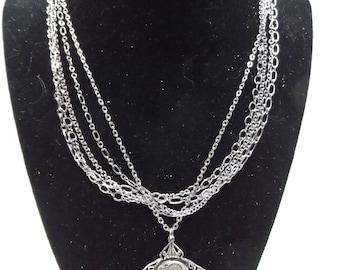 Multi-Chain Watch Movement Necklace - Antique Silver