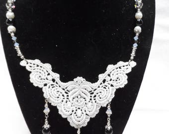 Lace and Pearl Necklace - Silver, Pearl, Onyx and Swarovski