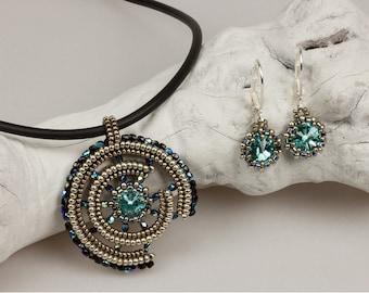 Broken Wheel (beaded pendant and earrings, with bracelet add-on)/ PDF file