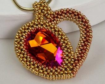 Heart Drops ( beaded pendant)/ PDF file