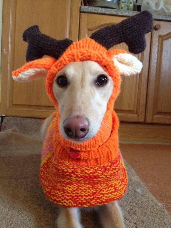 Whippet Reindeer Hat Knitting Pattern Download Etsy