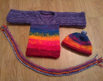 Jumper, Hat and Scarf for Rainbow Hounds and SockDogs Knitting Pattern Download