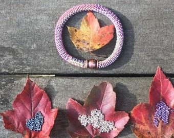 Blueberry Cream Cheese Bracelet Pattern and Kit - 9 Around Bead Crochet Slip Stitch