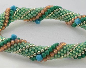 Minty Fresh Bead Crochet Bracelet Pattern - Instructions for bracelet and Hints doc included