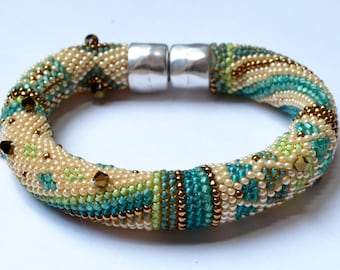 "Single Crochet with Beads ""Beginnings"" Bracelet 2 Pattern Colorways & Crocheting Instructions Included"