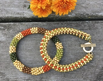 Fall Treats Bead Crochet Slip Stitch Bracelet Pattern