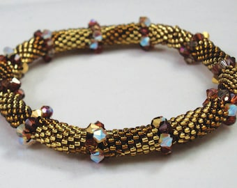 Golden Crystal Bead Crochet Bracelet Pattern - Bead Crochet Pattern & Helpful Hints doc