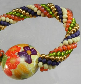 Bead Crochet Kit for the Beginner - Hibiscus Flower Bracelet choose your colorway