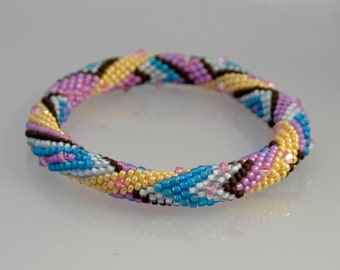 OSLO Bead Crochet Kit and Pattern for 2 Bracelets-Blue color way
