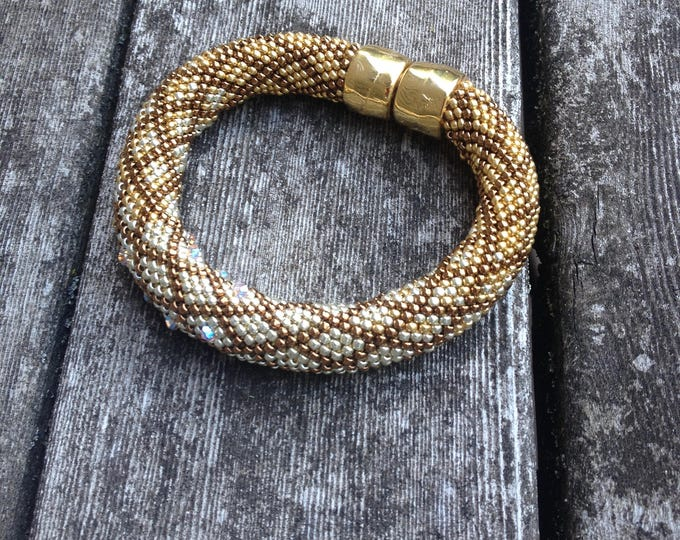 Featured listing image: Single Stitch Bead Crochet Bracelet Kit and Pattern in Gold Silver and Bronze and Crystals in Ombre Pattern