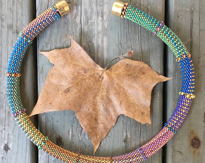Featured listing image: Indian Summer Necklace Kit  - Single Stitch Bead Crochet Pattern & Kit