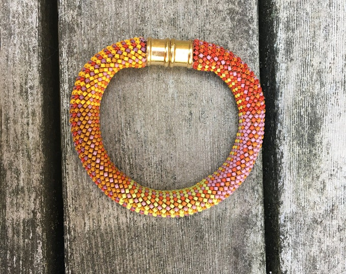 Featured listing image: Orange Crush 16-around Single Stitch Bead Crochet Bracelet Pattern & Kit
