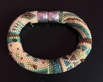 "Bead Crochet Bracelet Pattern & Kit, ""Beginnings"" - Green-Bronze Color Bead Kit"