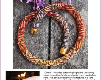 Ombre Necklace Pattern as featured in TOHO advertisements - Single Stitch Bead Crochet Pattern & How to Crochet Instructions