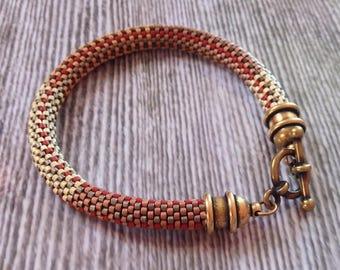 Handmade Bracelet Delicate, Architectural Designer Series Bead Crochet Bracelet
