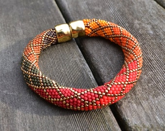 Ombre Bracelet Kit using Single Stitch Bead Crochet 2 Colorways - Red/Orange & Green/Blue/Gold