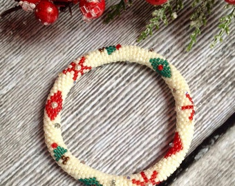Holiday Ornament Bead Crochet Bracelet Pattern & Bead Kit Bead Crochet Pattern Bead Crochet