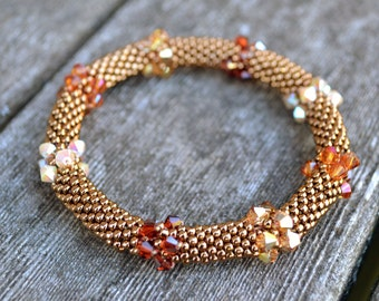 Bracelets Bronze and Swarovski Crystals in 4 Fall Colors Bangle Bracelet Handmade Gift