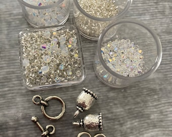 Bead Crochet Kit - Choose from Crystal Clear or Pink/Purple mix. Crystals, Beads, Clasp, Thread, and Pattern included