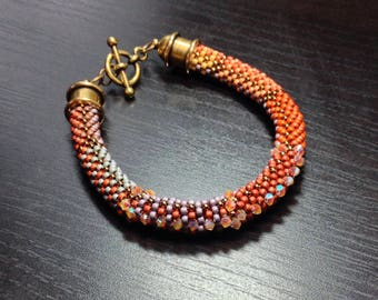 Bead Crochet Bracelet Pattern and Kit Bracelet with Swarovski Crystals Fabric Weave No. 8 Designer Series Bead Crochet Patterns Toho Beads