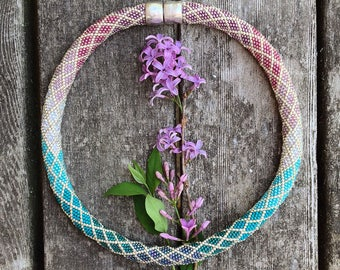 Ombre Necklace Pattern for Pink Purple and Green Teal Colorway - Single Stitch Bead Crochet Pattern & How to Crochet Instructions