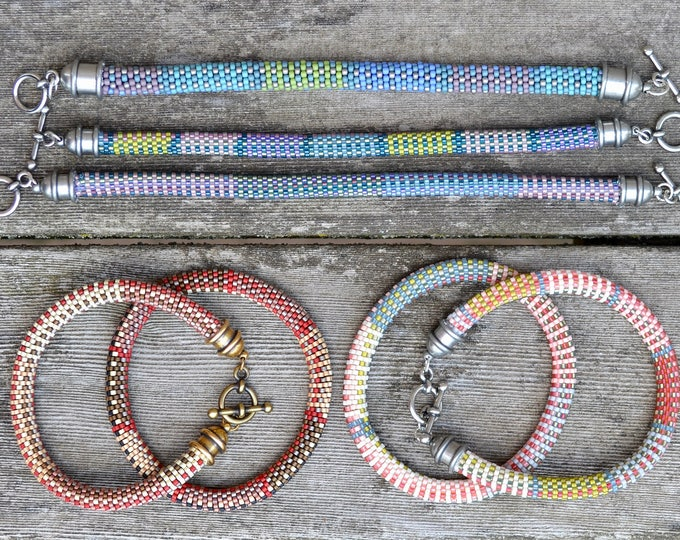 Featured listing image: 10 Bead Crochet Patterns using Slip Stitch Bead Crochet - Designer Series Bead Crochet Bracelet Patterns