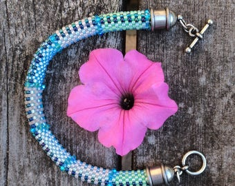 Bead Crochet Bracelet Pattern and Kit Bracelet with Swarovski Crystals Fabric Weave No. 6 Designer Series Bead Crochet Patterns