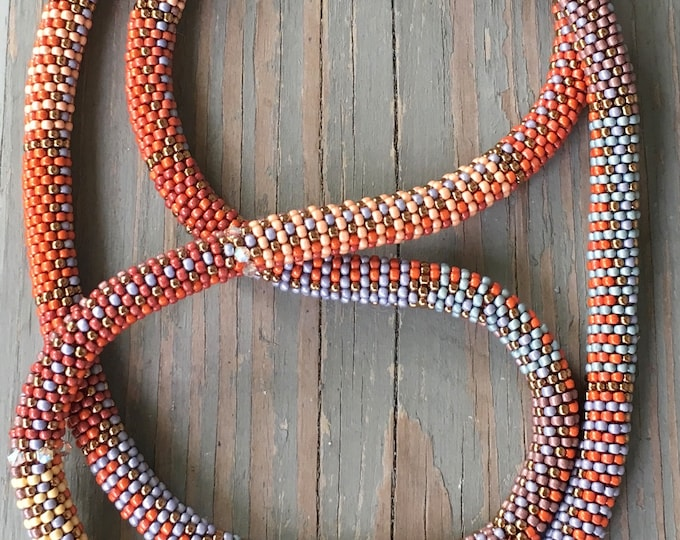 Featured listing image: Bead Crochet NECKLACE Pattern & Kit in Fabric Weave No. 8 Pattern Slip Stitch Stitch Bead Crochet