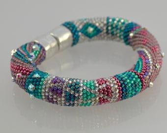 "Single Stitch Bead Crochet Bracelet Kit, ""Beginnings"" - Pinks, Teal and Crystal Color Bead Kit"