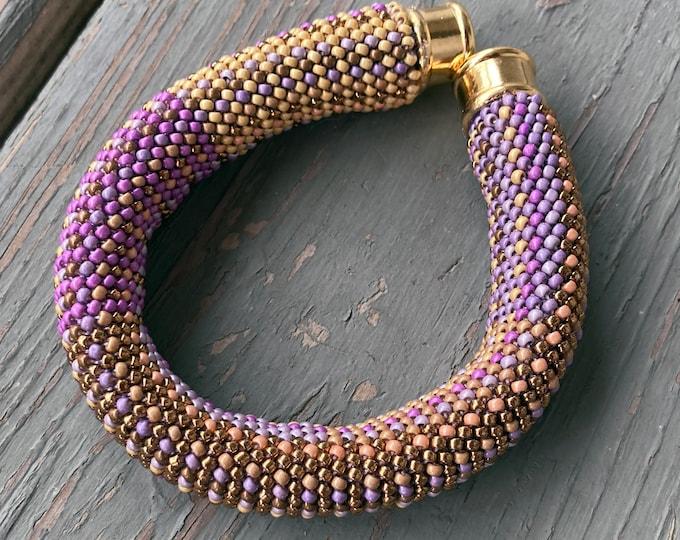 Featured listing image: Mel Bracelet Kit in Single Stitch Bead Crochet Pattern & Kit - bead crochet single stitch bronze colorway Double Euro Bead Crochet