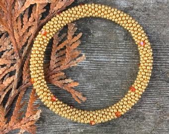 Bracelets 24K Gold Plated Hand Made Beaded Bangle Bracelet with Swarovski Crystals Handmade Gift