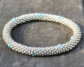 Bracelet Silver and Turquoise AB Swarovski Crystals Bangle Bracelet Handmade Gift Bead Crochet