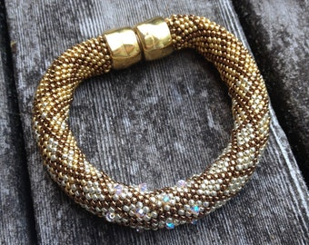 OMBRE' Bracelet Single Stitch Bead Crochet Pattern and Crocheting Instructions in Bronze Silver and Gold color way