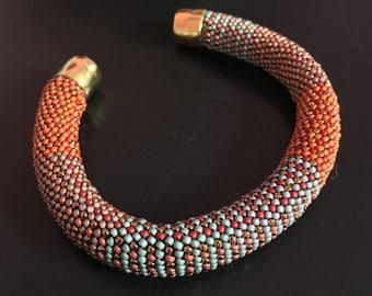 Bead Crochet Bracelet Kit Fabric Weave No. 2 Designer Series Pattern and Full Kit Single Stitch Bead Crochet Bracelet
