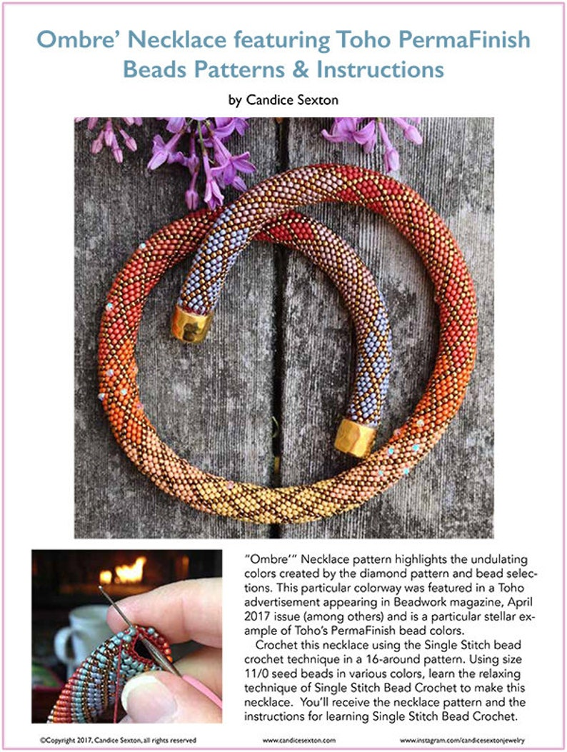 Ombre Necklace Kit as featured in TOHO advertisements Single Stitch Bead Crochet Pattern /& Kit 3 color ways offered