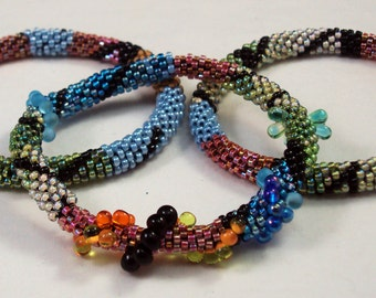 Bead Crochet Pattern and Kit - Complete Kit to Make 2 Patterns and Shapes Bracelet Designs