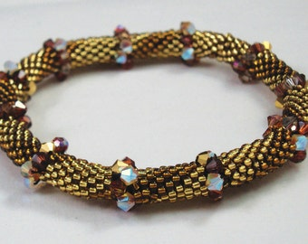 Golden Crystal Bead Crochet Bracelet Pattern - Bead Crochet Pattern & Helpful Hints doc