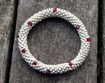 Bracelet Silver and Ruby Red Swarovski Crystals Bangle Bracelet Handmade Gift Bead Crochet