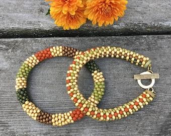 Fall Treats Bead Crochet Slip Stitch 2-Bracelet Pattern and Kit