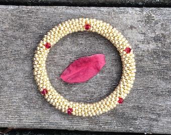 Bracelet Gold and Ruby Red Swarovski Crystals Bangle Bracelet Handmade Gift Bead Crochet