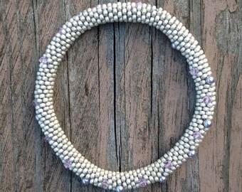 Bracelets Matte Silver Pearl Swarovski Crystals Bangle Bracelet Handmade Gift