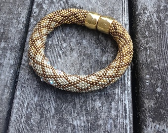 Bead Crochet with Single Stitch Ombre Bracelet Kit Bead Crochet Pattern  Bead Crochet Bracelet -Gold Silver Bronze and crystals