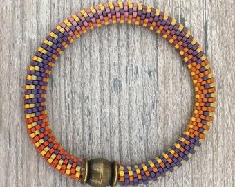 Orange Crush No. 3 Bracelet Pattern and Kit - 9 Around Bead Crochet Slip Stitch