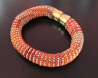 Bead Crochet Bracelet Kit Fabric Weave No. 1 Designer Series Pattern and Full Kit Single Stitch Bead Crochet Bracelet
