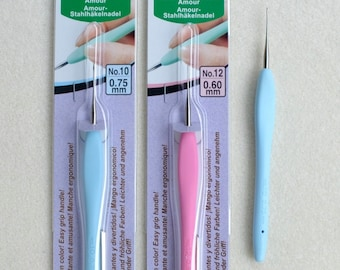 Amour Steel Crochet Hooks by Clover - Choose from sizes 6-8-10 or 12