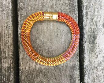 Orange Crush 16-around Single Stitch Bead Crochet Bracelet Pattern & Kit