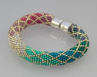 Ombre Bracelet Kit and Pattern in Single Stitch Bead Crochet